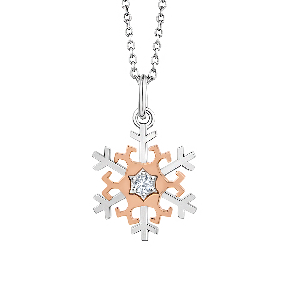 18k two tone gold snowflake diamond pendant beawelry mozeypictures Images
