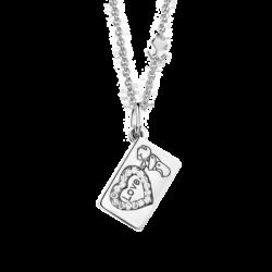 """18K White Gold """"Love"""" & Heart Diamond Envelope Pendant"""