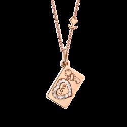 """18K Pink Gold """"Love"""" & Heart Diamond Envelope Pendant"""
