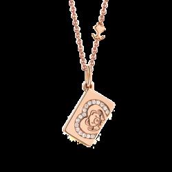 18K Pink Gold Heart Diamond Envelope Pendant