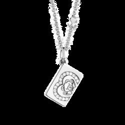 18K White Gold Heart Diamond Envelope Pendant