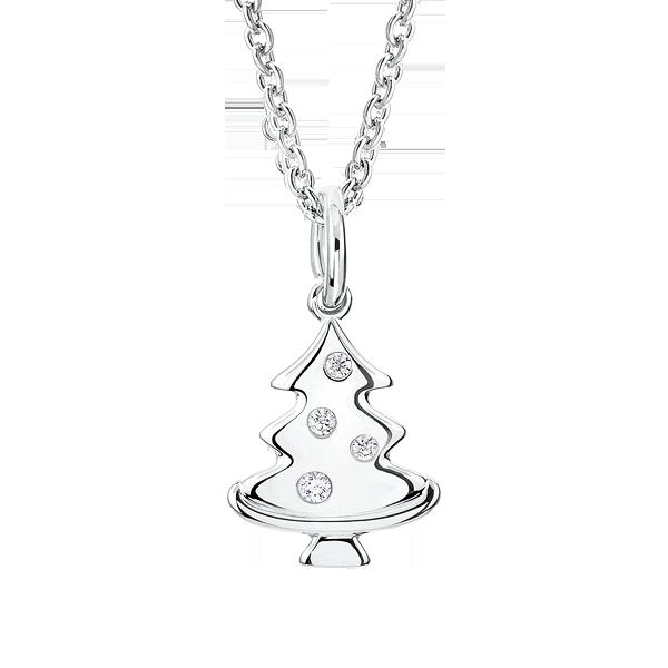 13829be19250 Silver Christmas Tree CZ Pendant