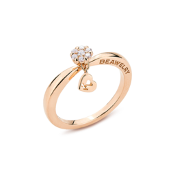 18K Pink Gold Cluster Diamond Ring