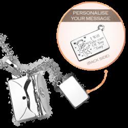 Engravable Silver Secret Message Envelope Pendant