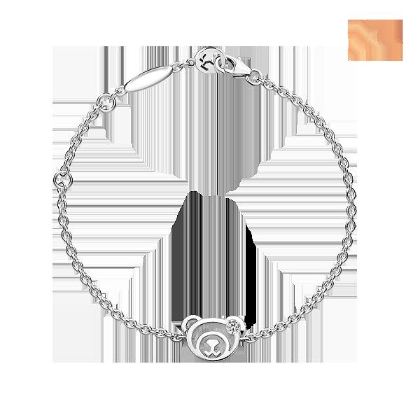 18c8eab0c21 Silver April Birthstone White CZ Bear Bracelet