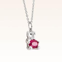 Silver Baby Beawelry Bear Ruby Pendant