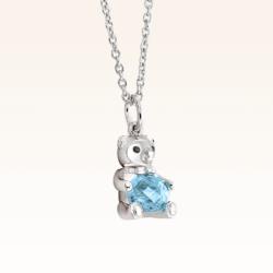 Silver Baby Beawelry Bear Blue Topaz Pendant
