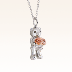 Silver Mini Beawelry Bear & Bouquet Pendant