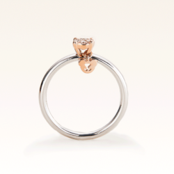 Silver & 14K Pink Gold Cluster Diamond Ring